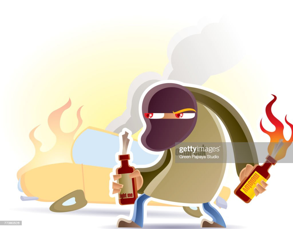 A terrorist bombing a car with bottle bombs : Illustration