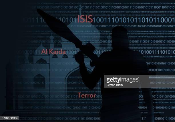 illustrazioni stock, clip art, cartoni animati e icone di tendenza di terrorist, words isis, al qaeda, terror, digital code, illustration - klein