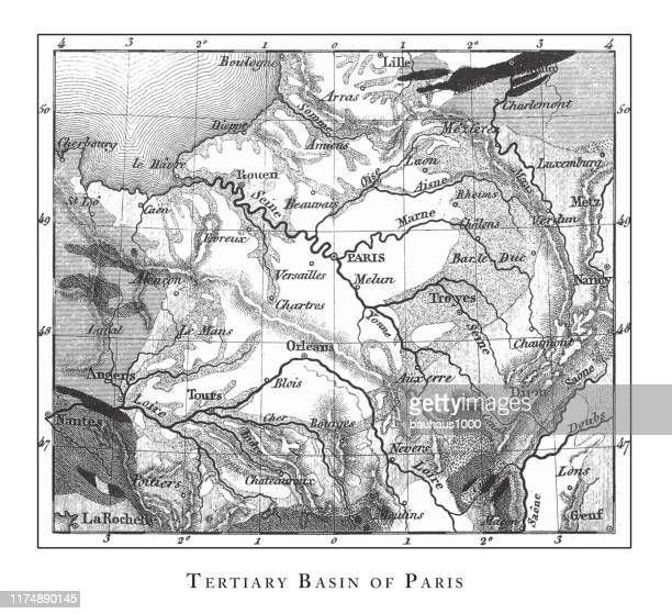 tertiary basin of paris, stratification in mountains and basins; fissures and craters engraving antique illustration, published 1851 - mont blanc stock illustrations, clip art, cartoons, & icons