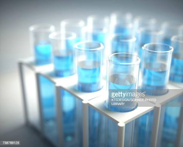 Test tubes with pipette, illustration