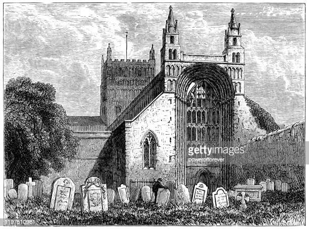 tewkesbury abbey in tewkesbury, england - 19th century - classical style stock illustrations