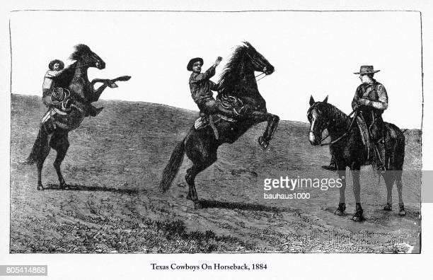 Vaqueros de Texas en equitación, temprano americano grabado, 1884