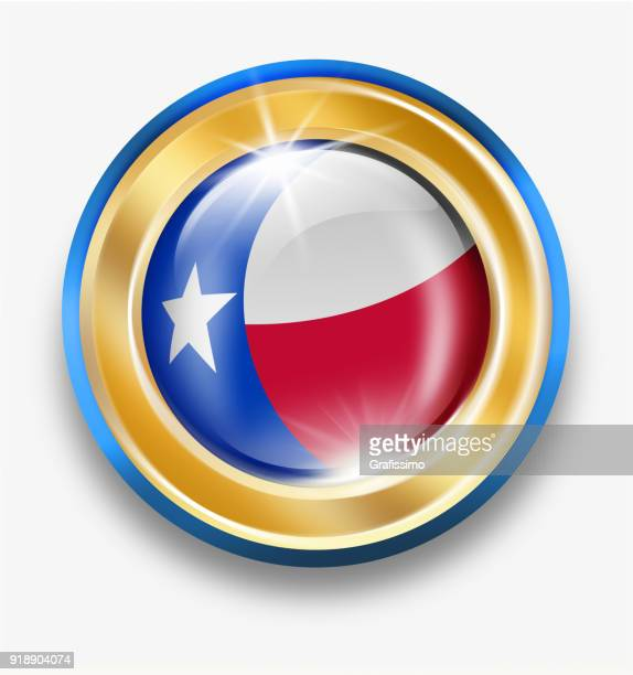 Texas golden button with flag isolated on white