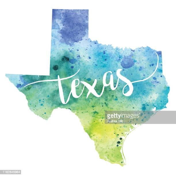 texas watercolor raster map illustration - texas stock illustrations