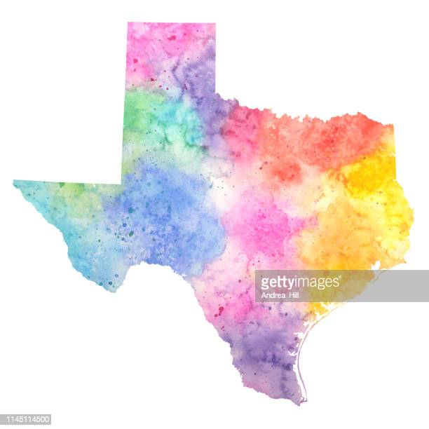 Texas Watercolor Raster Map Illustration in Pastel Colors