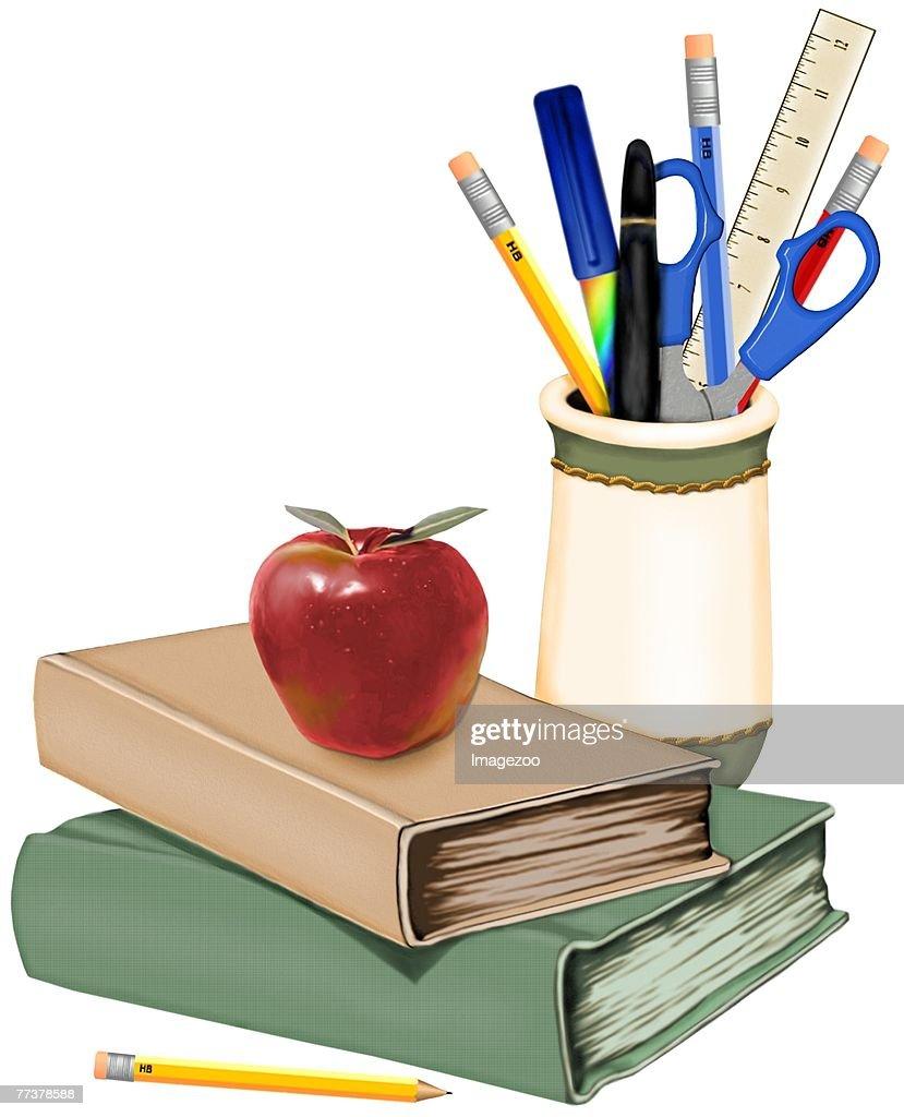 textbooks and school supplies : Illustration
