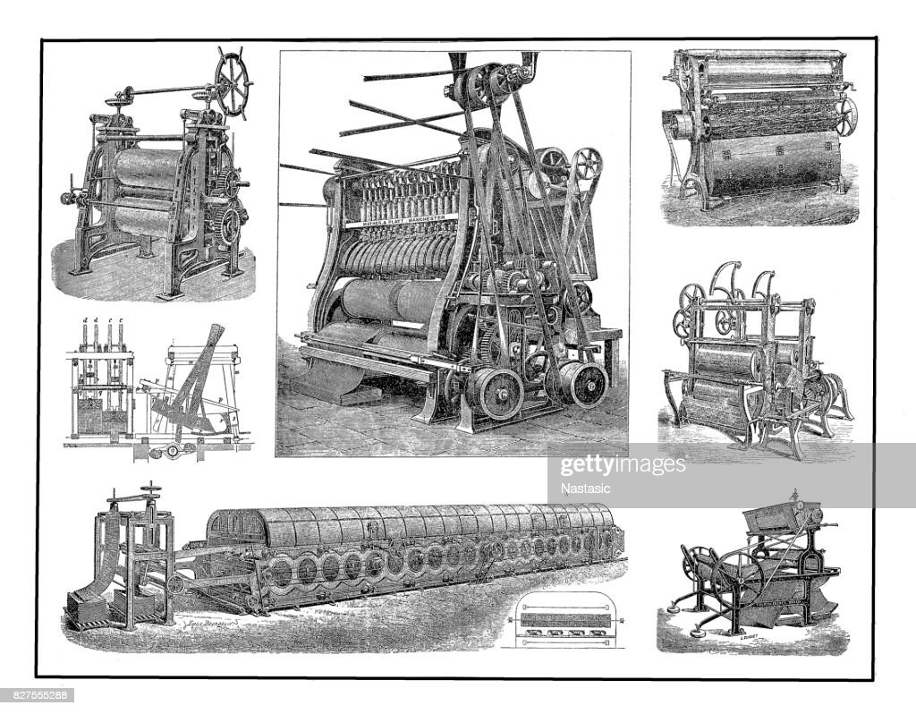 Textile industry ,grinding machines : stock illustration