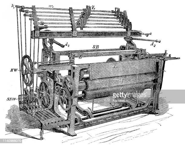 textile industry machine - mechanical loom - cotton stock illustrations, clip art, cartoons, & icons