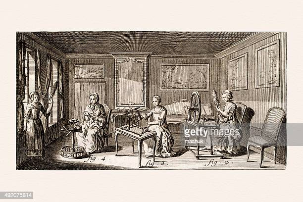 textile manufacturing 18 century illustration - textile industry stock illustrations