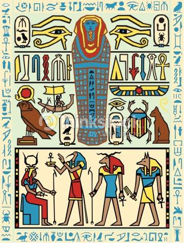 Texture Egyptian Hieroglyphics Color Illustrator Ver 5 ...
