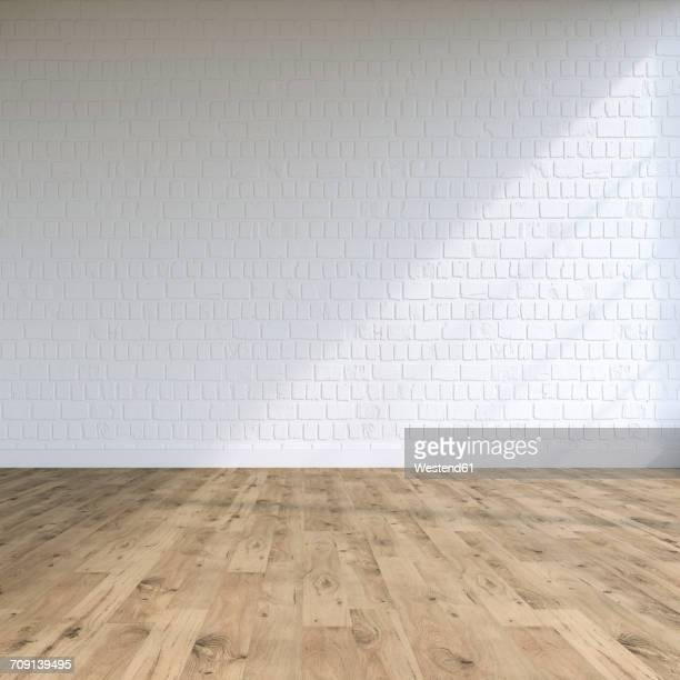 Textured white wall in a loft, 3D Rendering