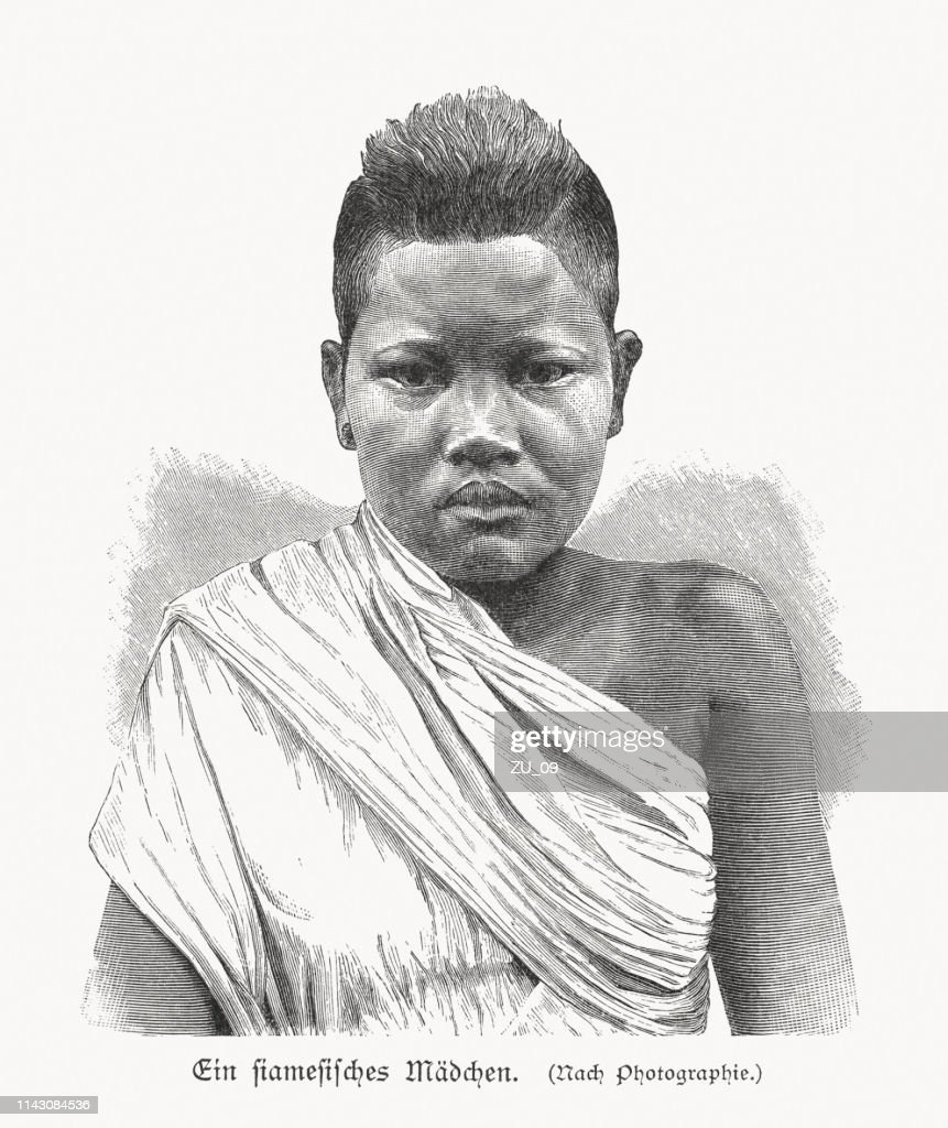 A Thai girl, wood engraving, published in 1897 : stock illustration