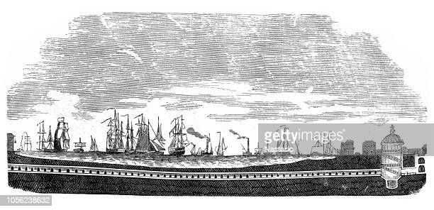 thames tunnel in london, world's first tunnel under a river - ile de france stock illustrations