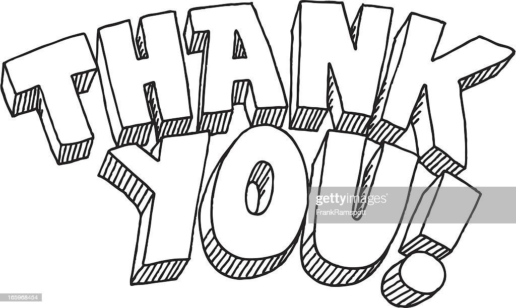 thank you lettering drawing vector art getty images