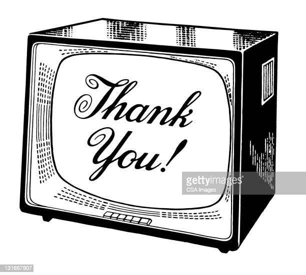 ilustraciones, imágenes clip art, dibujos animados e iconos de stock de thank you television - gracias