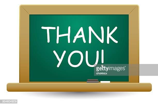ilustraciones, imágenes clip art, dibujos animados e iconos de stock de gracias palabra en pizarra - thank you frase corta en inglés