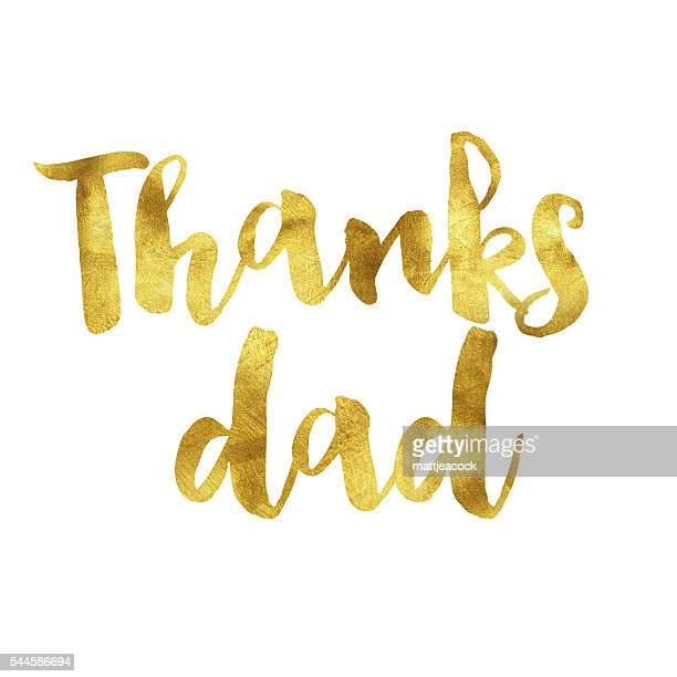 thanks dad gold foil message - thanks quotes stock illustrations