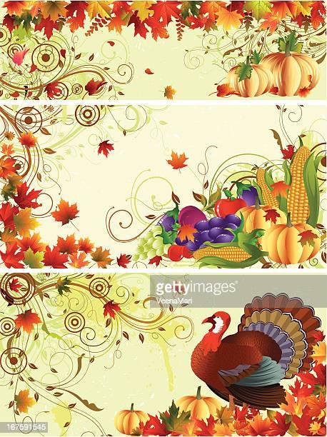 thanksgiving banner - harvest festival stock illustrations