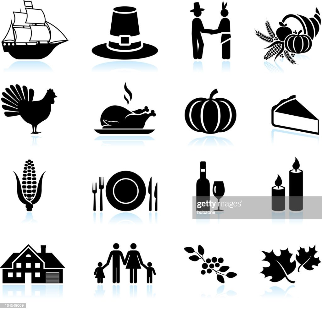 Thanksgiving holiday celebration black & white vector icon set