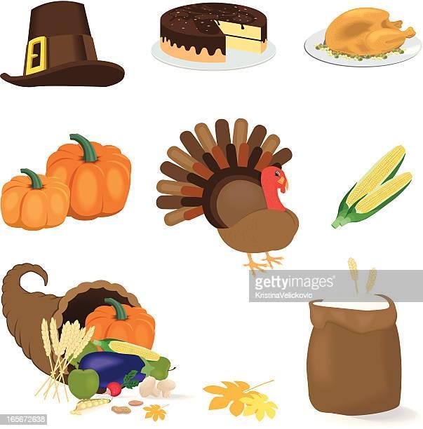 ilustraciones, imágenes clip art, dibujos animados e iconos de stock de iconos del día de acción de gracias - pollo asado