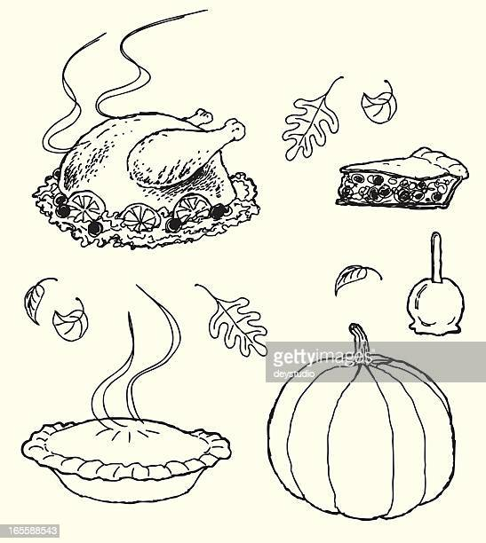 Thanksgiving Icons - sketch style