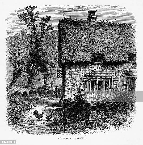 Thatch Roof Cottage in Radway, England Victorian Engraving, Circa 1840