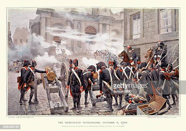 the 13 vendemiaire, 1795 - bonaparte quelling the insurrection - history stock illustrations