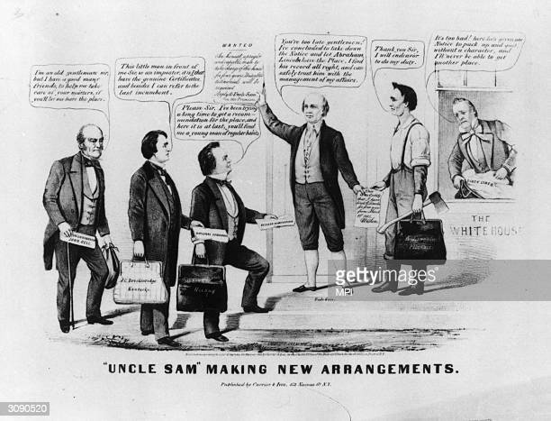 The 1860 Presidential campaign 'Uncle Sam' turns away candidates John Bell John C Breckinridge and Stephen A Douglas from the White House as Abraham...
