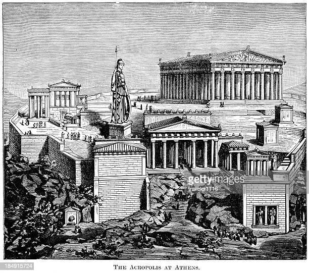 ilustrações, clipart, desenhos animados e ícones de a acrópole de atenas, grécia - partenão acrópole