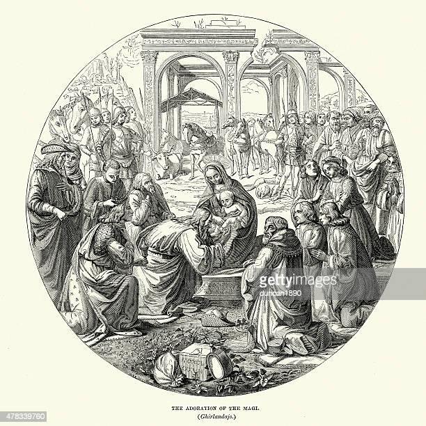ilustraciones, imágenes clip art, dibujos animados e iconos de stock de adoración de los reyes magos o tres reyes - lostresreyesmagos