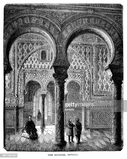 the alcazar - seville stock illustrations, clip art, cartoons, & icons