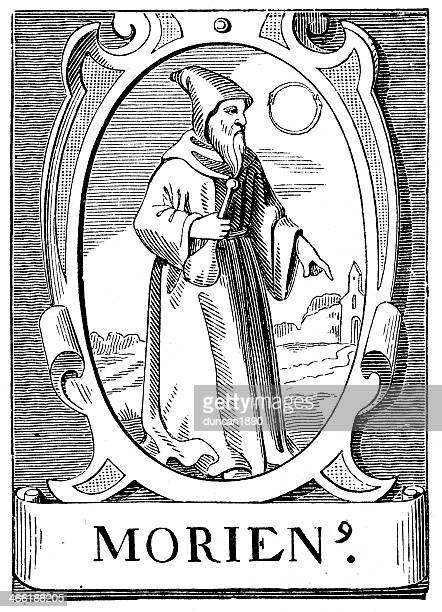 the alchemist morienus - wizard stock illustrations