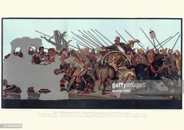 the alexander mosaic, alexander the great at battle of issus - alexander the great stock illustrations
