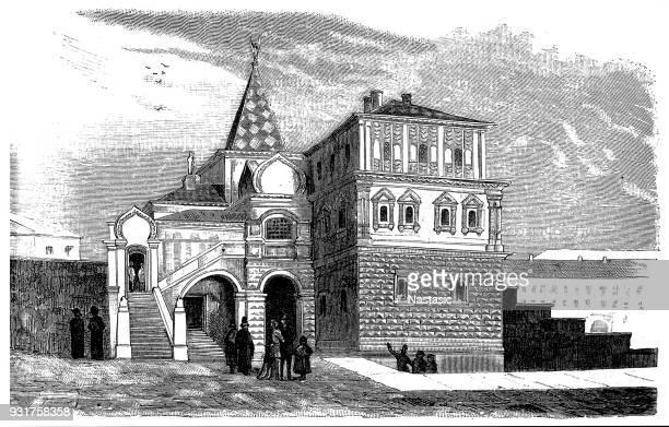 ilustrações, clipart, desenhos animados e ícones de a casa ancestral dos romanov para moscovo - cultura russa