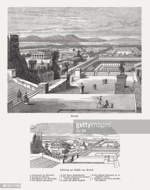 the ancient corinth (with explanation of the buildings), published 1886 - corinthian stock illustrations, clip art, cartoons, & icons