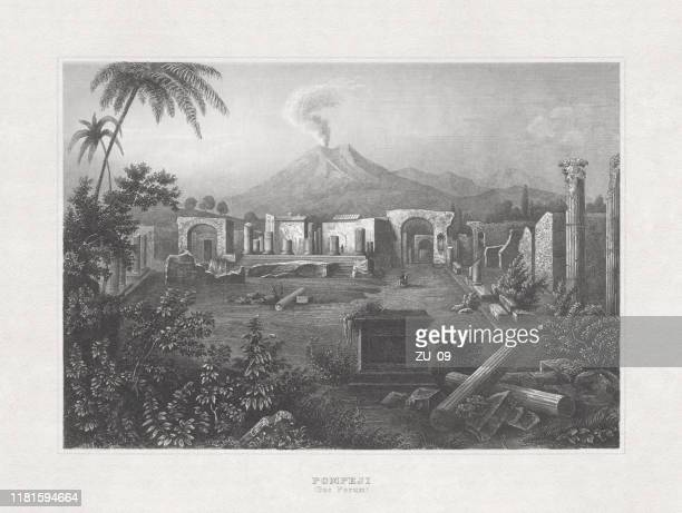 the ancient pompeii, steel engraving, published in 1857 - archaeology stock illustrations