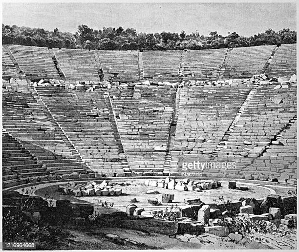 the ancient theatre of epidaurus is regarded as the best preserved ancient theatre in greece in terms of its perfect acoustics and fine structure. it was constructed in the late 4th century bc and it was finalized in two stages - epidaurus stock illustrations