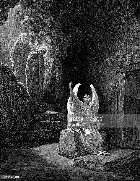 the angel announces that jesus has risen - cenotaph stock illustrations