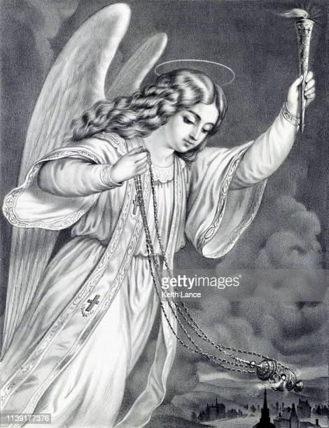 the angel of prayer - biblical event stock illustrations