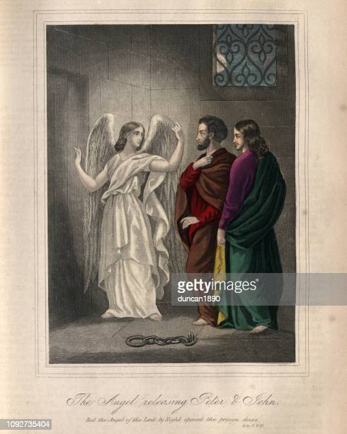 the angel releasing peter and john - free bible image stock illustrations
