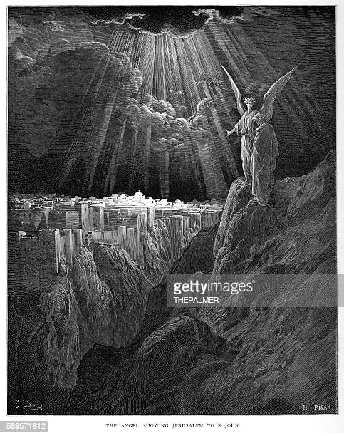 the angel showing jerusalem to st. john 1870 - jerusalem stock illustrations, clip art, cartoons, & icons