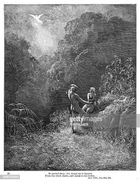 the angel up to heaven 1885 - john milton stock illustrations, clip art, cartoons, & icons