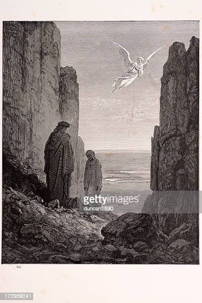 the angelic guide - gustave dore stock illustrations, clip art, cartoons, & icons