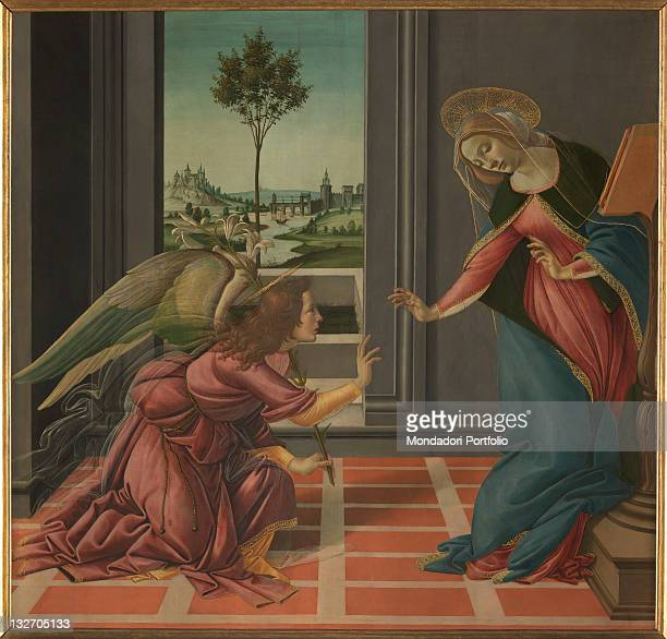 Italy, Tuscany, Florence, Uffizi Gallery. Total Annunciation without frame Virgin Annunciated Angel Annunciating Archangel Gabriel interior prie dieu...