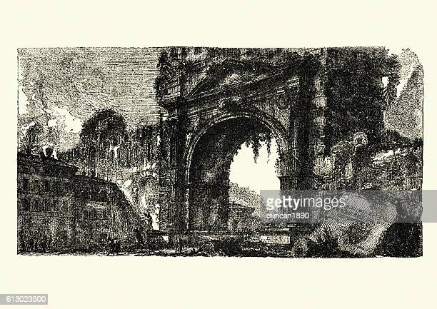 the arch of augustus at rimini - natural arch stock illustrations, clip art, cartoons, & icons