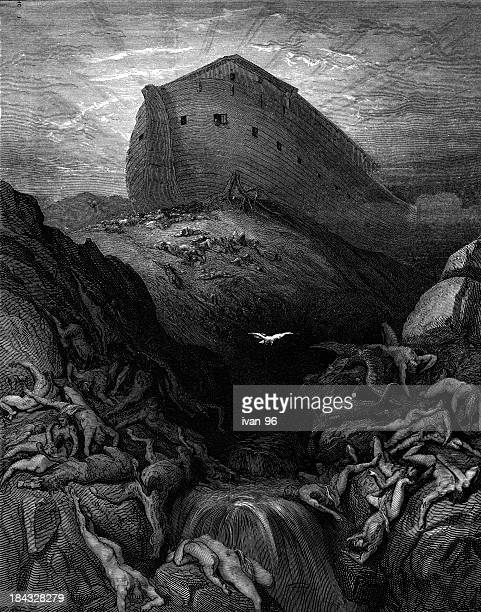 the ark rests on dry land - old testament stock illustrations