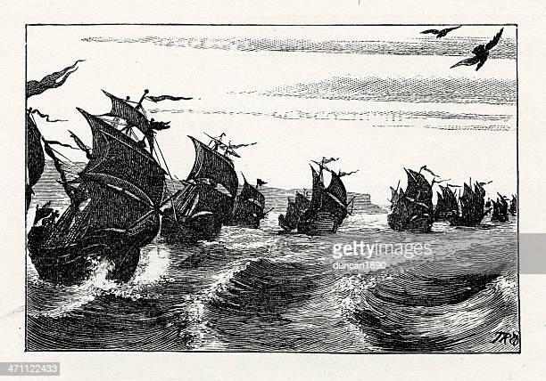 the armada - spanish culture stock illustrations