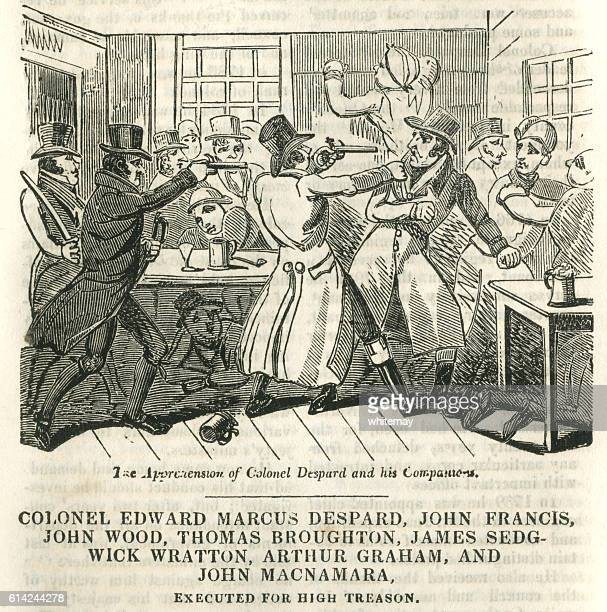 the arrest of plotters planning to kill king george iii - infamous stock illustrations, clip art, cartoons, & icons