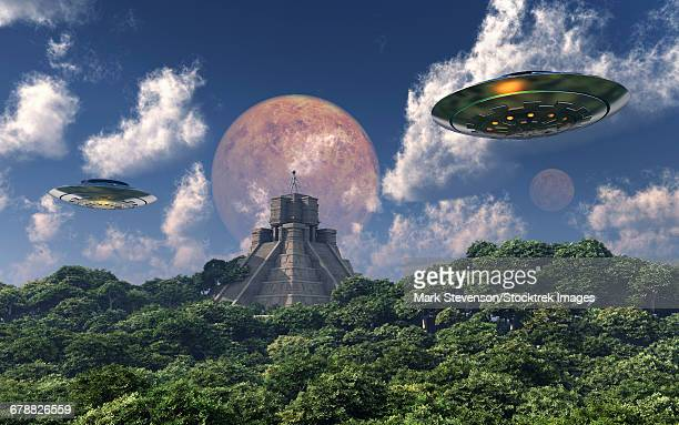 the arrival of planet nibiru, also known as planet x, as seen from a mayan pyramid. - apex legends点のイラスト素材/クリップアート素材/マンガ素材/アイコン素材