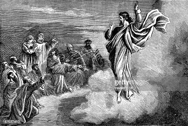 the ascension of jesus - jesus christ stock illustrations